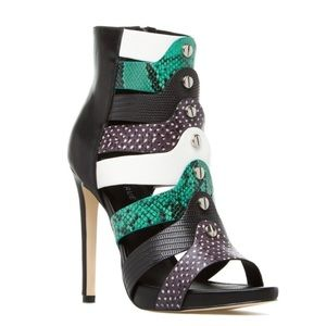 Green White Black High Heel Open Toe boot
